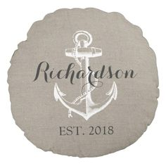 Rustic Classic Anchor Wedding ceremony Monogram Spherical Pillow. *** See more at the photo