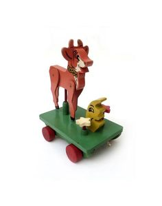 So cute pull toy. Elsie The Cow, Cow Toys, Cartoon Cow, Yellow Moon, Cow Creamer, Wooden Wheel, Antique Show, Pull Toy, Retro Home