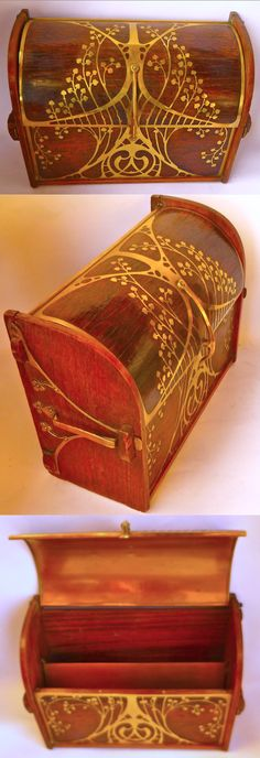 Erhard & Söhne, Stationary Box, Art Nouveau, German, early 1900's, rosewood with brass decoration, 24 x 17 x 10.5 cm, unsigned
