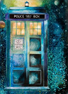 Doctor Who Time And Relative Dimension In Space (TARDIS) Watercolor Art ***Holiday Special below! Signed Print by artist Alyssa Rolen The Tardis, Tardis Art, Tardis Blue, Doctor Who, Tenth Doctor, Matt Smith, David Tennant, Dr Who, Serie Doctor