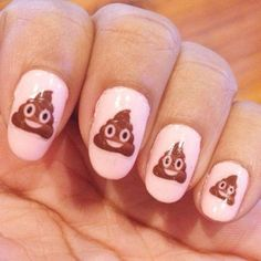 cool Smiling Poop Emoji Nail Decals / Nail Art / Nail Design: