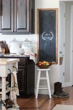 HUGE DIY Chalkboard that's as easy to make as it is pretty. Full tutorial at The Wood Grain Cottage.