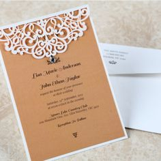 Twine and Lace, once again, work together to offer the perfect invitation for a vintage or rustic wedding. Classic brown and white from Giant Invitations. Pocket Invitation, Laser Cut Invitation, Laser Cut Wedding Invitations, Engagement Party Invitations, Laser Cutting, Twine, Rustic Wedding, Embellishments, Place Card Holders