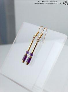 Violet  Golden Brass Drop Genuine Amethyst by CastalynStudios, $16.00