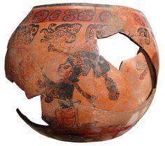 Late Classic Mayan, polychrome ceramic vessel, Caracol, Belize.