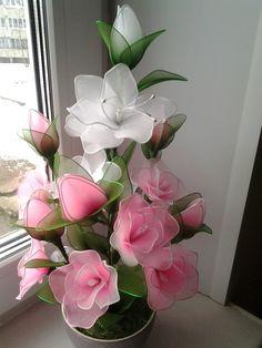 Bunga stocking Nylon Flowers, Wire Flowers, Cloth Flowers, Giant Paper Flowers, Satin Flowers, Felt Flowers, Fabric Flowers, Nylon Crafts, Plastic Bottle Flowers