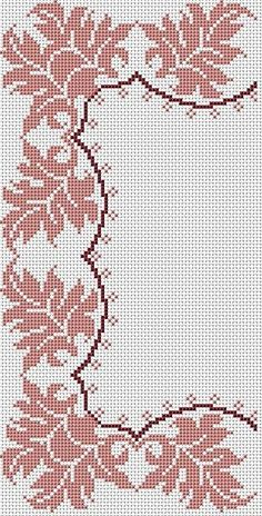 Crochet Border Stitch motivo for corners for tablecloth Cross Stitch Borders, Crochet Borders, Cross Stitch Flowers, Cross Stitch Designs, Cross Stitching, Cross Stitch Embroidery, Embroidery Patterns, Hand Embroidery, Cross Stitch Patterns