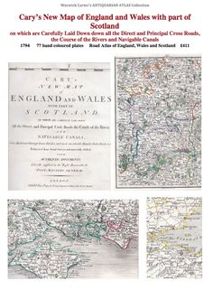 Cary's New Map of England and Wales with part of Scotland 1794 Hand Coloring, Wales, Scotland, Vintage World Maps, England, English