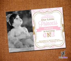 Little Princess Birthday Invitation with Picture 1st First Birthday Pink Gold Damask Pattern- Digital File on Etsy, $10.00