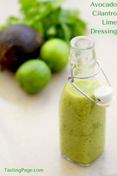 Avocado Cilantro Lime Dressing - no processed ingredients, just tasty, clean eating food | http://TastingPage.com