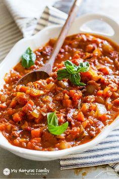 Chunky Vegetable & Roasted Tomato Marinara Sauce Recipe {Paleo, Clean Eating, Gluten Free, Dairy Free, Vegan}