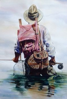 Original Watercolor Paintings – Fly Fishing Cowboy Art - Nelson Boren