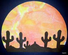desert crafts for kids - grade/Botanical Gardens project Desert Art, Desert Sunset, Sunset Sky, Classroom Crafts, Preschool Crafts, Wild West Crafts, Desert Crafts, Art For Kids, Crafts For Kids