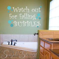 51 ideas kitchen wall quotes window for 2019 Bathroom Kids, Bathroom Wall Decor, Bathrooms, Grey Floor Tiles, Grey Flooring, Kitchen Wall Quotes, Bubble Wall, Vinyl Decor, Lettering Design