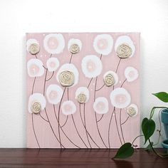 Baby Girl Nursery Painting of Roses - Original Textured Canvas Art - Khaki and Pink Wall Art - 10X10 Small Square Canvas - IN STOCK. $38.00, via Etsy.
