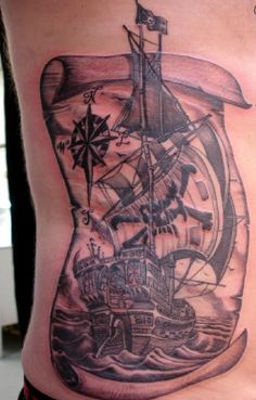Omg this idea is amazing, because it also has a compass and a map which would incorporate my love for travel. I would need to make quite a few changes for me to love it, but this idea is spot on! Ocean Tattoos, Map Tattoos, Love Tattoos, Tattoo Art, Tatoos, Pirate Tattoo, Cool Illusions, Tattoo Ideas, Tattoo Designs