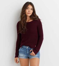 AEO Solid Crew Sweater