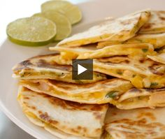 Savour complementary shrimp and mango, blended with Mascarpone Monterey Jack and cheeses in this tasty quesadillas recipe. Perfect for a light meal or party appetizers, House & Home food editor Amy Rosen demonstrates just how easy they are to make. Quesadillas, Food Network, Mexican Food Recipes, Snack Recipes, Good Food, Yummy Food, Tortilla Recipe, Quesadilla Recipes, Home Recipes