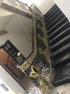 Stair Railing Design, Staircase Railings, Stairs, Steel Grill Design, Door Design, Chanel Boy Bag, Cnc, Wood, Home Decor