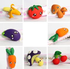 I love clay figures on bows/clips. these are adorable baby veggies/fruit