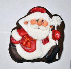 Купить Пряник имбирный новогодний Дед мороз. Кулинарный сувенир - пряники, Пряники имбирные