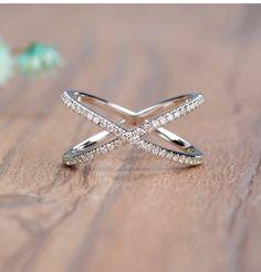 18K White gold criss-cross diamond ring ,Wedding Ring, Fashion Ring, Ladies