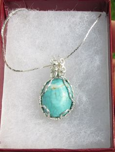 Magnesite Imitation Turquoise  Cabachon wire by johnchapman3, $8.50