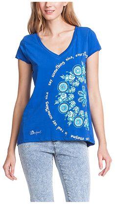 #Desigual Shirt - Modell Orgu, Muster: floral, Text und Mandala, blau.