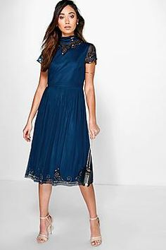 Boutique Sia Beaded High Neck Midi Dress