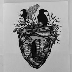 #bdg #draw #sketch #illustration #dot #dotwork #project #kruk #crow #miasto #bydgoszcz #paku #pakulogia #blackwork