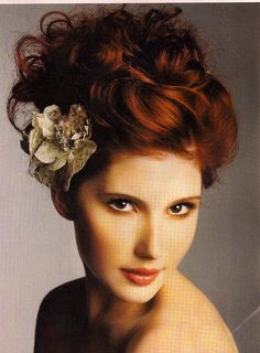 bridal updo with flower