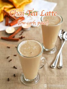 Chai Tea Latte Cocktail (keto, paleo, low-carb). My simple version: 1/2 cup Costco Coconut Milk (.5c), 1.5oz. Heavy Cream (0c), 1 tsp General Foods International Chai Latte mix (1c). Swish until frothy. Add ice or serve hot. Add 1-2 shots hard liquor.