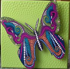 Creaciones Mariela Acosta, cursos y algo mas...: septiembre 2011 Dot Art Painting, Mandala Painting, Tole Painting, Butterfly Mosaic, Tiffany Art, Shrink Art, Mandala Dots, Gourd Art, Aboriginal Art
