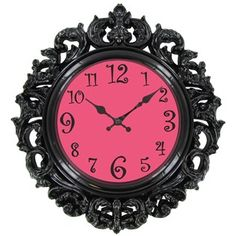 Add color and a fun twist to children's wall décor with this plastic Black & Turquoise Victorian Style Wall Clock. Size: wide x high x thick Requires one AA battery (not included). Art Craft Store, Craft Stores, Eiffel Tower Lamp, Design Baroque, Crown Wall Decor, Black Clocks, Clock Shop, Wall Clock Online, Paris Theme