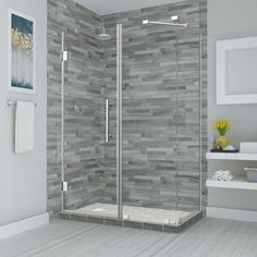 Aston Bromley Frameless Corner Rectangle Hinged Shower Enclosure Wall Size (Glass Door x Fixed Panel): W x W, Finish: Chrome, Size (Depth):. Steam Shower Enclosure, Frameless Shower Enclosures, Frameless Shower Doors, Bathtub Enclosures, Shower Base, Shower Tub, Shower Stalls, Tile Showers, Neo Angle Shower