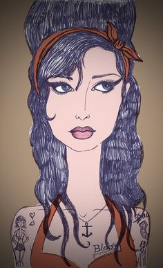 Amy Whinehouse al estilo Cabizbaja #Ilustraciones