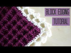 CROCHET: block edging tutorial, I want to crochet this edge on my KNITED blocks afghan.