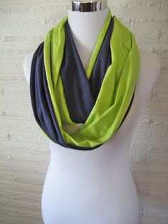 Seahawks colors Scarf LONG Navy Blue and Lime Green colorblock Infinity Scarf by ChevronScarf