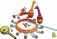 This colorful Jungle themed musical set includes a tambourine, slide whistle, twister hand drum, and two maracas. The tambourine has 10 bells and can be shaken or . Snake Stick, Jungle Jam, Baby Playroom, Rhythmic Pattern, Hand Drum, Early Music, Music And Movement, Musical Toys, Reusable Bags