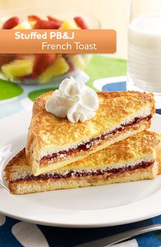 Enjoy this Stuffed PB&J French Toast, ready in just 20 minutes!