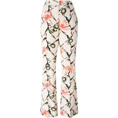 Dorothee Schumacher Floral Print Trousers (1.910 RON) ❤ liked on Polyvore featuring pants, multi colored pants, silk pants, floral silk pants, pink pants and colorful pants