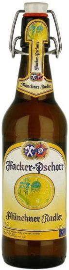 Hacker-Pschorr Münchner Radler (Fruit Beer/Radler) -- Pours clear straw with airy white head. Clear aroma of citrus, needles and lemonade. Sweetish flavour of malt and yeast and lemonade, with sourish, citric touches. Estery, citric and slightly paperlike aftertaste. Not bad for a Radler, as it is not as terribly sweet as most other examples of this beer style.