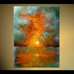 Original abstract art paintings by Osnat - sundhine abstract landscape painting