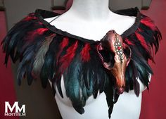 <3 Animal-friendly Feathered Faux Fox skull collar in door MortiisM