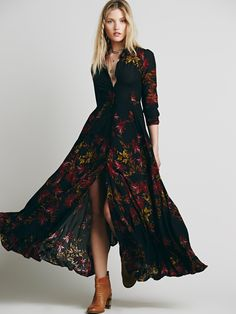 printed maxi-length shirt dress + three-quarter sleeves