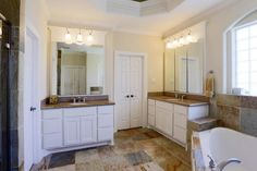 Example with offset vanities. Not sure I like it. Ours will be smaller vanities if that makes a difference.