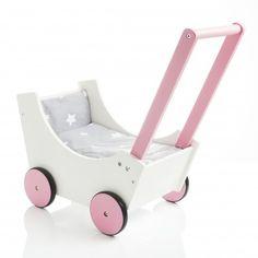 SUN Holzpuppenwagen Speedy Sternchen II weiss-rosa