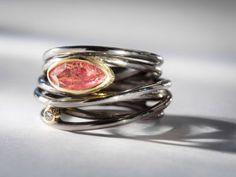 Oxidized silver, 18K yellow gold, pink tourmaline and diamond ring by Margoni #igorman #margoni