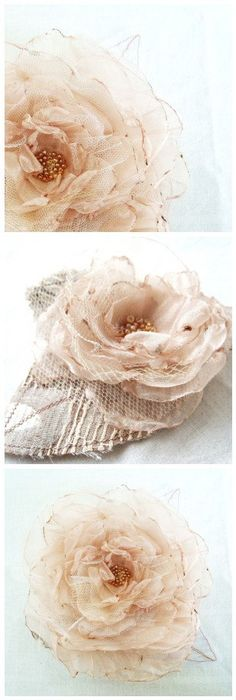 Golden Champagne Organza Flower Wedding Bridal Hair Accessory Corsage Brooch Bridesmaid Hair Flower Girl Hair by Fairytale Flower - Small -