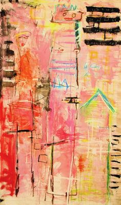 AMADEA BAILEY - IN THE PINK - MIXED MEDIA ON CANVAS - 89 X 53 INCHES